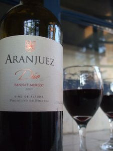A bottle of Tarija Aranjuez red. Get in my belly! Photo: http://vinodetarija.blogspot.co.uk/2011/02/aranjuez-duo-tannat-merlot.html